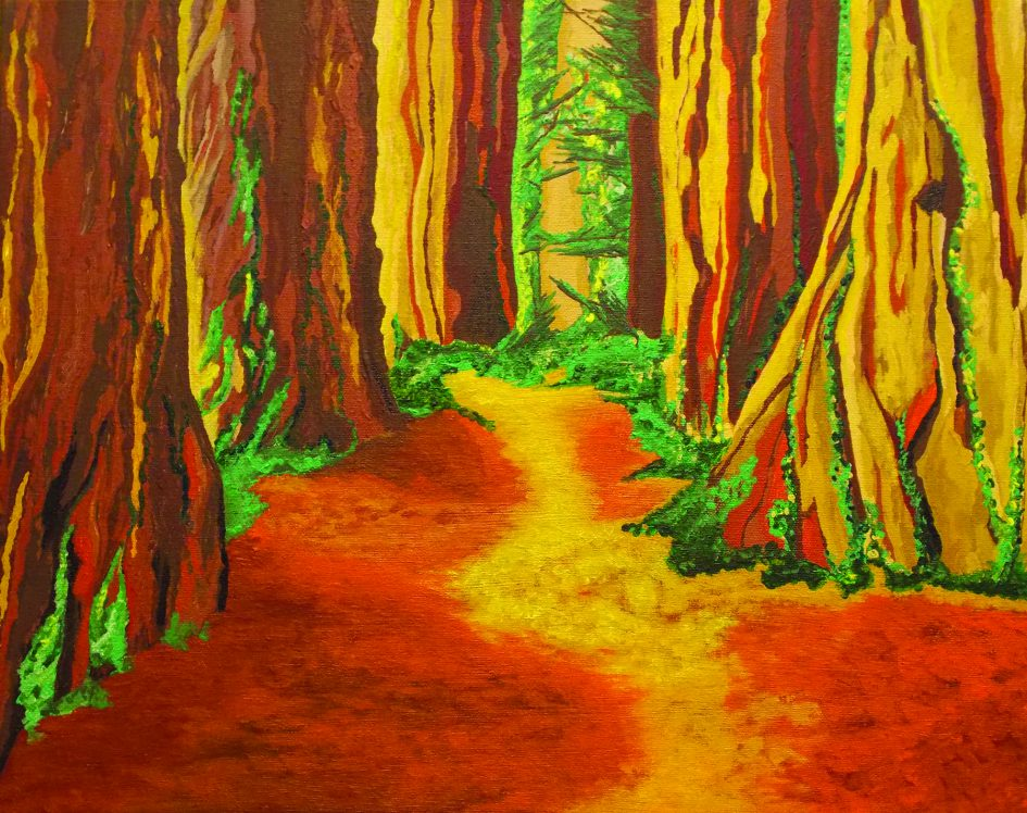 "redwoods acrylic on canvas 16""x20"""